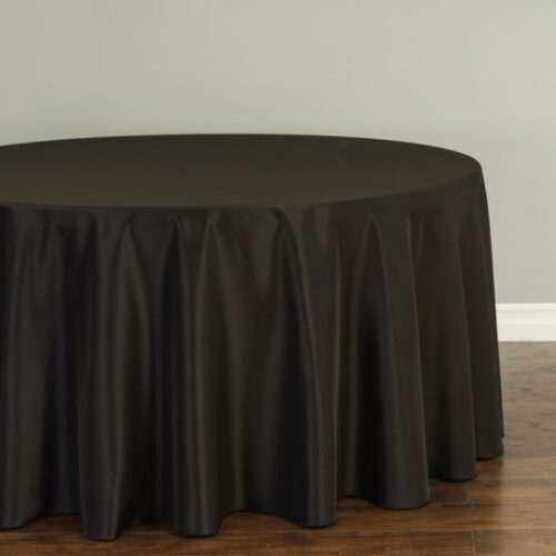 120 IN. Round Polyester Tablecloth Black