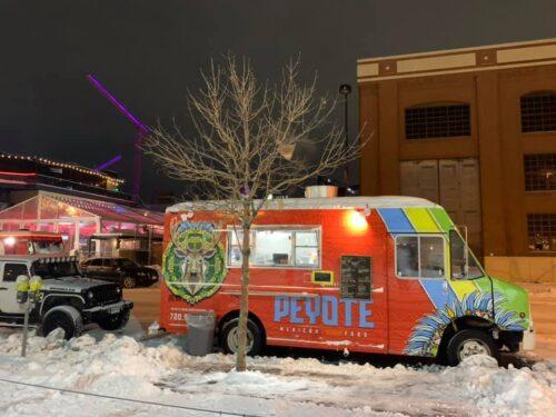Peyote Food Truck on market street in snow