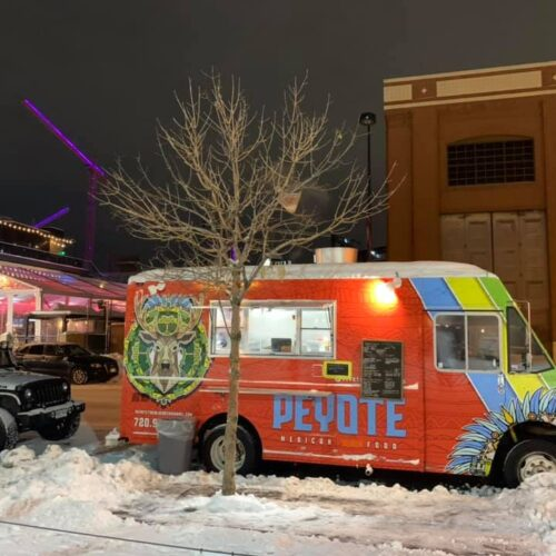 Peyote Food Truck on market street in snow