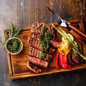 Grilled Steak with Chimichurri Sauce Catering