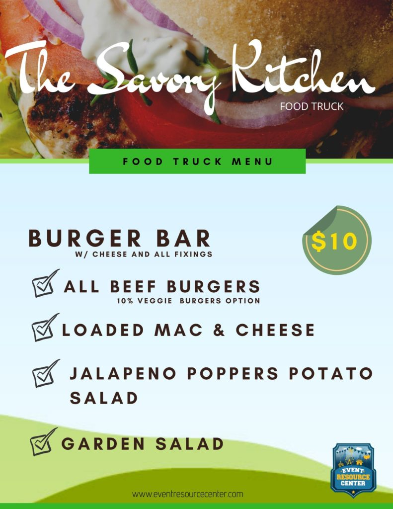 Savory Food Truck Burger menu