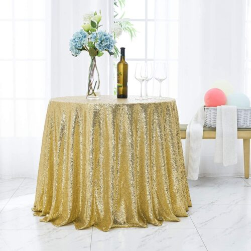 90 inch Round Sequin Tablecloth Gold